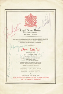 DON CARLOS OPERA CAST - PROGRAM SIGNED CIRCA 1958 CO-SIGNED BY: CARLO MARIA GIULINI, BORIS CHRISTOFF, GRE BROUWENSTIJN, JON VICKERS