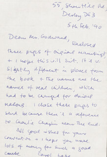 CAROL LAKE - AUTOGRAPH LETTER SIGNED 02/05/1990