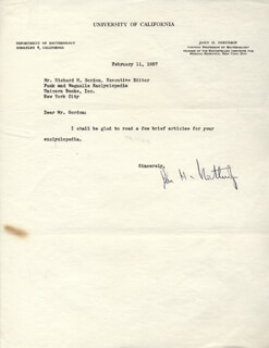 Autographs: JOHN H. NORTHROP - TYPED LETTER SIGNED 02/11/1957