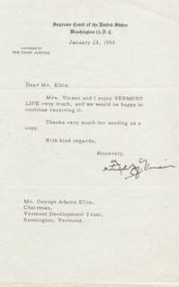 CHIEF JUSTICE FRED M. VINSON - TYPED LETTER SIGNED 01/23/1953