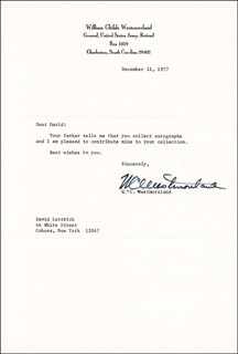 GENERAL WILLIAM C. WESTMORELAND - TYPED LETTER SIGNED 12/11/1977