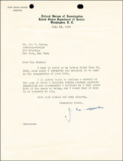 J. EDGAR HOOVER - TYPED LETTER SIGNED 07/13/1939  - HFSID 15425