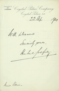 HERBERT GODFREY - AUTOGRAPH SENTIMENT SIGNED 04/22/1901