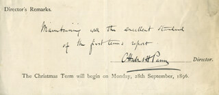 SIR CHARLES H.H. PARRY - DOCUMENT SIGNED CIRCA 1896