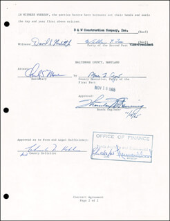 Autographs: VICE PRESIDENT SPIRO T. AGNEW - DOCUMENT SIGNED 11/18/1965