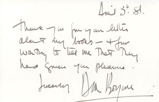 DIRK BOGARDE - AUTOGRAPH NOTE SIGNED 04/05/1981