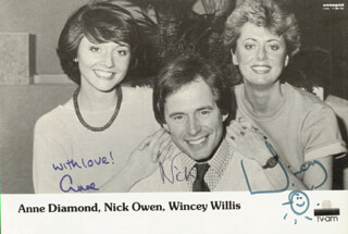 GOOD MORNING WITH ANNE AND NICK TV CAST - PRINTED PHOTOGRAPH SIGNED IN INK CO-SIGNED BY: ANNE DIAMOND, NICK OWEN, WINCEY WILLIS