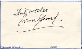 TREVOR HOWARD - AUTOGRAPH SENTIMENT SIGNED