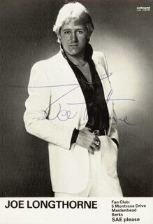 JOE LONGTHORNE - PRINTED PHOTOGRAPH SIGNED IN INK