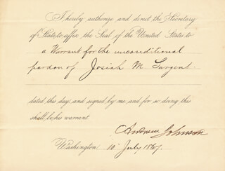 PRESIDENT ANDREW JOHNSON - PRESIDENTIAL WARRANT SIGNED 07/10/1867