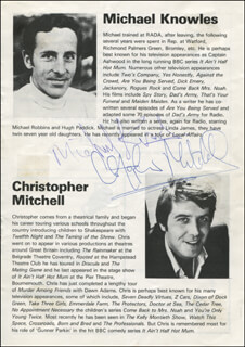 MICHAEL KNOWLES - BIOGRAPHY SIGNED CO-SIGNED BY: CHRISTOPHER MITCHELL