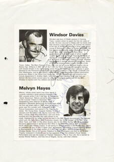 WINDSOR DAVIES - INSCRIBED MAGAZINE ARTICLE SIGNED CO-SIGNED BY: MELVYN HAYES
