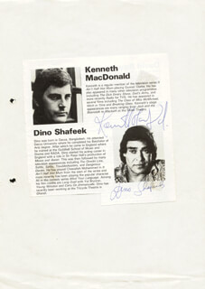 KENNETH MacDONALD - BIOGRAPHY SIGNED CO-SIGNED BY: DINO SHAFEEK