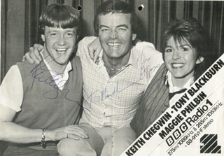 KEITH CHEGWIN - PRINTED PHOTOGRAPH SIGNED IN INK CO-SIGNED BY: TONY BLACKBURN, MAGGIE PHILBIN