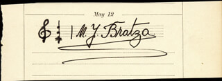 MILAN YOVANOVITCH BRATZA - AUTOGRAPH MUSICAL QUOTATION SIGNED