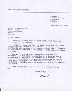 CARL MR. RECORDER DOLMETSCH - TYPED LETTER SIGNED 09/28/1970