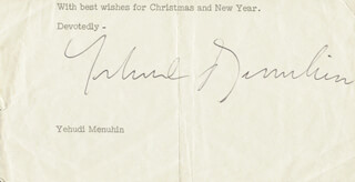 Autographs: YEHUDI MENUHIN - TYPED SENTIMENT SIGNED