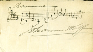 JOHANNES WOLFF - AUTOGRAPH MUSICAL QUOTATION SIGNED