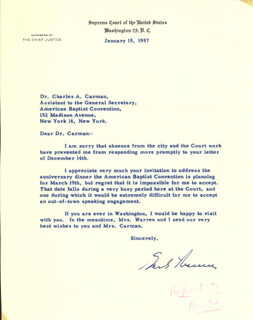 CHIEF JUSTICE EARL WARREN - TYPED LETTER SIGNED 01/15/1957