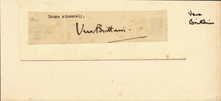 Autographs: VERA MARY BRITTAIN - TYPED SENTIMENT SIGNED