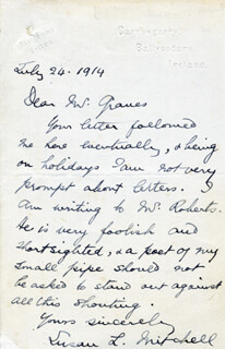 SUSAN LANGSTAFF MITCHELL - AUTOGRAPH LETTER SIGNED 07/24/1914