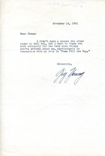 GIG YOUNG - TYPED LETTER SIGNED 11/15/1951