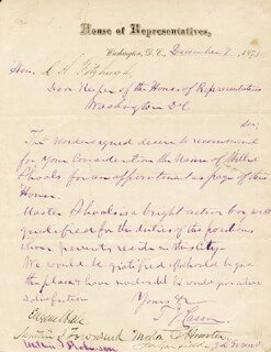 PRESIDENT JAMES A. GARFIELD - MANUSCRIPT LETTER SIGNED 12/07/1875 CO-SIGNED BY: THOMAS J. CASON, JAMES L. EVANS, MORTON C. HUNTER, MILTON S. ROBINSON, MARTIN I. TOWNSEND, EUGENE HALE