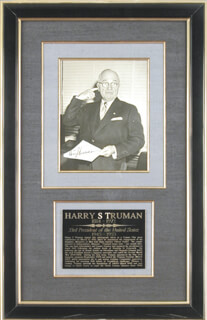 PRESIDENT HARRY S TRUMAN - AUTOGRAPHED INSCRIBED PHOTOGRAPH CIRCA 1956