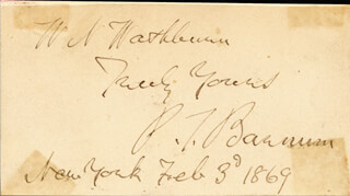 P.T. BARNUM - INSCRIBED SIGNATURE 02/03/1869