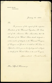 PRESIDENT THEODORE ROOSEVELT - PRINTED LETTER SIGNED IN INK 01/23/1904