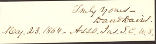 Autographs: ASSOCIATE JUSTICE DAVID D. DAVIS - AUTOGRAPH SENTIMENT SIGNED 05/23/1864