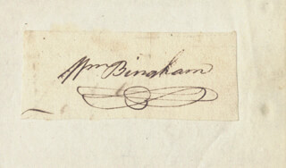 Autographs: WILLIAM BINGHAM - CLIPPED SIGNATURE