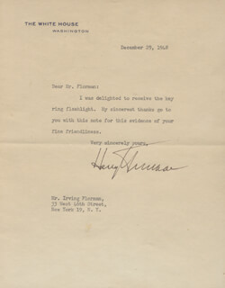 PRESIDENT HARRY S TRUMAN - TYPED LETTER SIGNED 12/29/1948