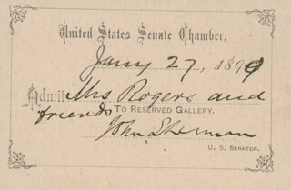 JOHN SHERMAN - ANNOTATED PASS SIGNED 01/27/1899