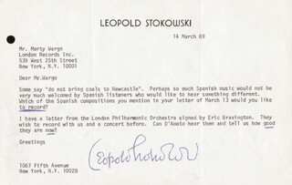 LEOPOLD STOKOWSKI - TYPED LETTER SIGNED 03/14/1969