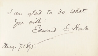 Autographs: EDWARD EVERETT HALE - AUTOGRAPH NOTE SIGNED 08/07/1895