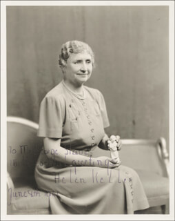 HELEN KELLER - AUTOGRAPHED INSCRIBED PHOTOGRAPH 06/08/1941
