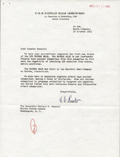 ADMIRAL HYMAN G. RICKOVER - TYPED LETTER SIGNED 10/14/1963