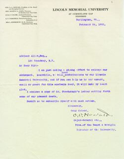 MAJOR GENERAL OLIVER O. HOWARD - TYPED LETTER SIGNED 02/24/1905