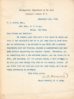 MAJOR GENERAL OLIVER O. HOWARD - TYPED LETTER SIGNED 09/01/1892
