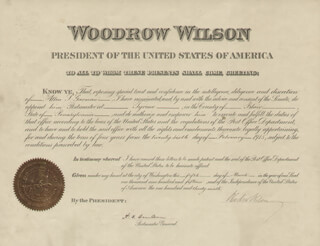 Autographs: PRESIDENT WOODROW WILSON - CIVIL APPOINTMENT SIGNED 03/05/1915 CO-SIGNED BY: ALBERT S. BURLESON