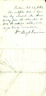 WILLIAM LLOYD GARRISON - AUTOGRAPH DOCUMENT SIGNED 02/22/1862