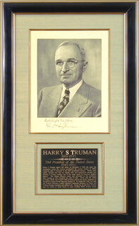 PRESIDENT HARRY S TRUMAN - INSCRIBED PHOTOGRAPH MOUNT SIGNED 11/09/1960