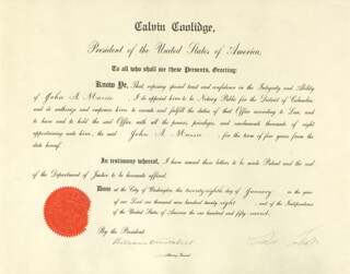 PRESIDENT CALVIN COOLIDGE - CIVIL APPOINTMENT SIGNED 01/28/1928 CO-SIGNED BY: WILLIAM D. MITCHELL