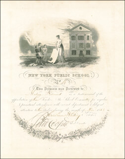 Autographs: PETER COOPER - DOCUMENT SIGNED 12/1843