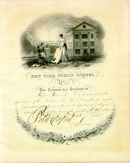 Autographs: PETER COOPER - DOCUMENT SIGNED 10/1842
