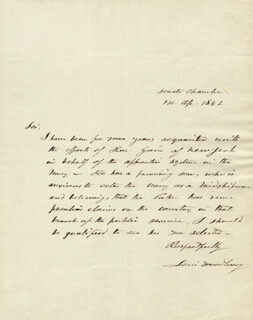 ASSOCIATE JUSTICE LEVI WOODBURY - AUTOGRAPH LETTER SIGNED 04/01/1842
