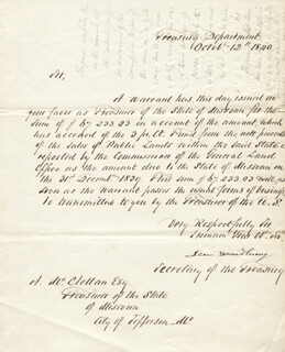 ASSOCIATE JUSTICE LEVI WOODBURY - MANUSCRIPT LETTER SIGNED 10/12/1840
