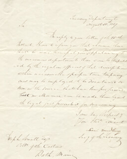 ASSOCIATE JUSTICE LEVI WOODBURY - MANUSCRIPT LETTER SIGNED 08/30/1837