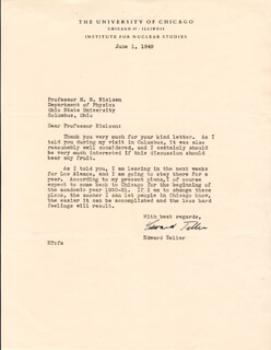 EDWARD TELLER - TYPED LETTER SIGNED 06/01/1949